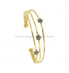 RIGID BRACELET WITH 3 CENTRAL STARS IN SILVER GOLDEN TIT 925 ‰ AND SMALTO GRIGIO GLITTER