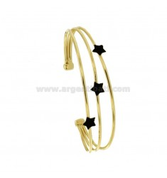 RIGID BRACELET WITH 3 CENTRAL STARS IN SILVER GOLDEN TIT 925 ‰ AND BLACK GLITTER ENAMEL