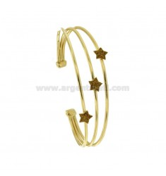 RIGID BRACELET WITH 3 CENTRAL STARS IN SILVER GOLDEN TIT 925 ‰ AND GLITTER GOLD ENAMEL