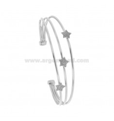 RIGID BRACELET WITH 3 CENTRAL STARS IN SILVER RHODIUM TIT 925 ‰ AND SMALTO GRIGIO GLITTER