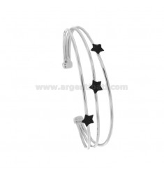 RIGID BRACELET WITH 3 CENTRAL STARS IN SILVER RHODIUM TIT 925 ‰ AND BLACK GLITTER ENAMEL