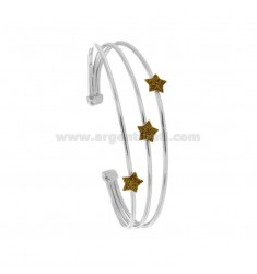 RIGID BRACELET WITH 3 CENTRAL STARS IN SILVER RHODIUM TIT 925 ‰ AND GLITTER GOLD ENAMEL