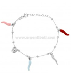 ALTERNATE CABLE BRACELET WITH BALLS AND HORNS AND CHELL PENDANT IN SILVER RHODIUM TIT 925 AND ENAMEL CM 17-20
