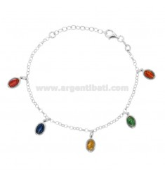 ROLO BRACELET WITH MIRACULOUS MADONNOWES PENDANTS IN SILVER RHODIUM TIT 925 AND ENAMEL CM 17-20