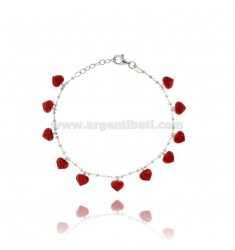 ALTERNATE CABLE BRACELET WITH WASHERS WITH HEARTS PENDANTS IN SILVER RHODIUM TIT 925 AND TRANSPARENT ENAMEL CM 17-20