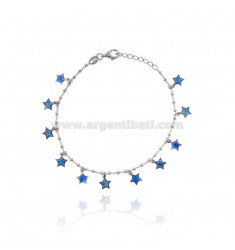 ALTERNATE CABLE BRACELET WITH WASHERS WITH STELLINE PENDANTS IN SILVER RHODIUM TIT 925 AND TRANSPARENT ENAMEL CM 17-20