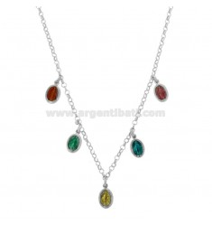 ROLO NECKLACE 'WITH MIRACULOUS MADONNINE PENDANTS IN SILVER RHODIUM TIT 925 AND ENAMEL 40 CM