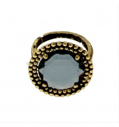 ROUND RING WITH MICROSPHERES IN SILVER ANTIQUE GOLDEN TIT 925 AND HYDROTHERMAL STONE BLUE ADJUSTABLE SIZE