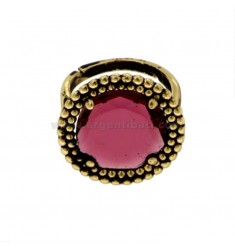 ROUND RING WITH MICROSPHERES IN SILVER ANTIQUE GOLDEN TIT 925 AND HYDROTHERMAL STONE FUCSIA ADJUSTABLE SIZE