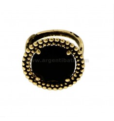 ROUND RING WITH MICROSPHERES IN SILVER ANTIQUE GOLDEN TIT 925 AND HYDROTHERMAL STONE BLACK ADJUSTABLE SIZE