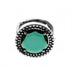 ROUND RING WITH MICROSPHERES IN SILVER RHODIUM ANTICATO TIT 925 AND HYDROTHERMAL GREEN STONE ADJUSTABLE SIZE