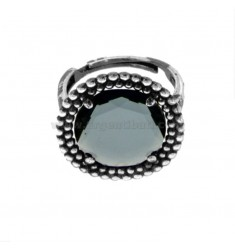 ROUND RING WITH MICROSPHERES IN SILVER RHODIUM ANTICATO TIT 925 AND HYDROTHERMAL STONE BLACK ADJUSTABLE SIZE