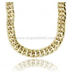 EMPTY GROUMETTE MESH NECKLACE SQUARE CANE 15 MM SILVER GOLDEN TIT 925 CM 45-50