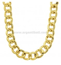 OVAL KNITTED NECKLACE 18 MM SILVER GOLDEN TIT 925 CM 45-50
