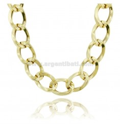 NECKLACE OVAL CANE SQUARE 23 MM IN SILVER GOLDEN TIT 925 CM 45-50