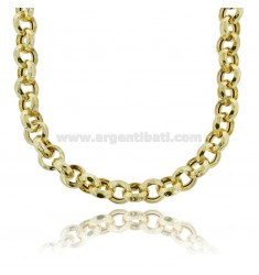 NECKLACE ROLO 'EMPTY DIAMOND MM 13 SILVER GOLDEN TIT 925 CM 45-50