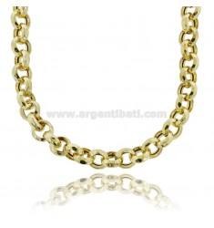 ROLO NECKLACE EMPTY DIAMOND MM 13 SILVER GOLDEN TIT 925 CM 45-50
