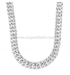 COLLAR NECKLACE VEGET GROWER CUADRADO 12 MM EN PLATA RODIO TIT 925 CM 45-50