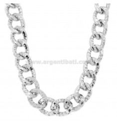 KNITTED OVAL NECKLACE 18 MM MM SILVER RHODIUM TIT 925 CM 45-50