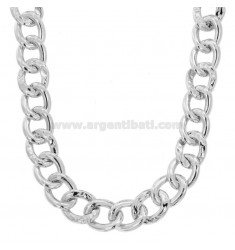 OVAL KNITTED NECKLACE 18 MM SILVER RHODIUM TIT 925 CM 45-50