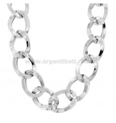 NECKLACE OVAL CANE SQUARE 23 MM IN SILVER RHODIUM TIT 925 CM 45-50
