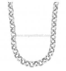 COLLAR ROLO 'DIAMANTE VACÍO 13 MM PLATA RODIO TIT 925 CM 45-50