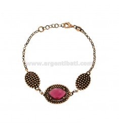 ROLO BRACELET WITH 3 OVALS WITH MICRO-FRIENDS IN SILVER ANTIQUE ROSE TIT 925 AND STONES HYDROTHERMAL FUCHSIA CM 17-19
