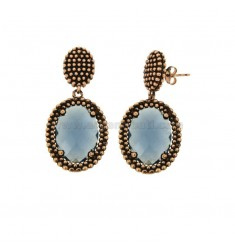 EARRINGS DOUBLE OVAL WITH MICROSPHERES IN SILVER ANTIQUE ROSE TIT 925 AND HYDROTHERMAL STONES BLUE