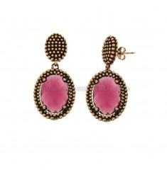 EARRINGS DOUBLE OVAL WITH MICROSPHERES IN SILVER ANTIQUE ROSE TIT 925 AND STONES HYDROTHERMAL FUCHSIA