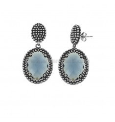 EARRINGS DOUBLE OVAL WITH MICRO SILVER BALLS IN SILVER RHODIUM ANTICATO TIT 925 AND STONES HYDROTHERMAL BLUE
