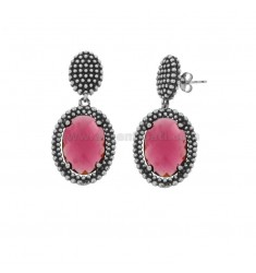 EARRINGS DOUBLE OVAL WITH MICRO-FRIENDS IN SILVER ANCIENT RHODIUM TIT 925 AND STONES HYDROTHERMAL FUCHSIA