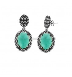 EARRINGS DOUBLE OVAL WITH MICROSPHERES IN SILVER RHODIUM ANTICATO TIT 925 AND GREEN HYDROTHERMAL STONES