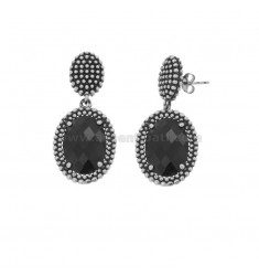 EARRINGS DOUBLE OVAL WITH MICROSPHERES IN SILVER RHODIUM ANTICATO TIT 925 AND BLACK HYDROTHERMAL STONES