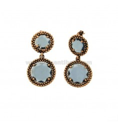 EARRINGS DOUBLE ROUND WITH MICROSPHERES IN SILVER ANTIQUE ROSE TIT 925 AND STONES HYDROTHERMAL BLUE
