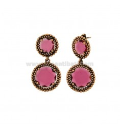 EARRINGS DOUBLE ROUND WITH MICRO-FRIENDS IN SILVER ANTIQUE ROSE TIT 925 AND FUCSIA HYDROTHERMAL STONES