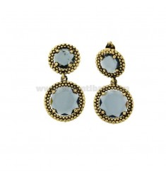 EARRINGS DOUBLE ROUND WITH MICRO-FRIENDS IN SILVER ANTIQUE GOLDEN TIT 925 AND STONES HYDROTHERMAL BLUE