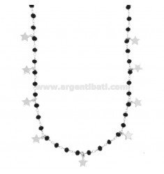 LACE WITH BLACK STONES AND 15 STARS PENDANTS IN SILVER RHODIUM TIT 925 ‰ CM 80