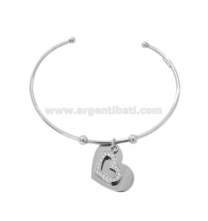 RIGID BRACELET WITH DOUBLE HEART PENDANT IN SILVER RHODIUM TIT 925 AND ZIRCONIA