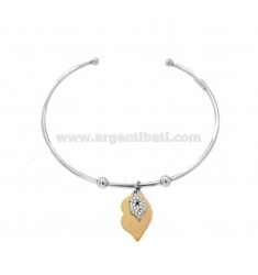 RIGID BRACELET WITH DOUBLE MOUTH PENDANT IN SILVER RHODIUM AND ROSE TIT 925 AND ZIRCONIA