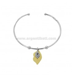 RIGID BRACELET WITH DOUBLE MOUTH PENDANT IN SILVER RHODIUM AND GOLDEN TIT 925 AND ZIRCONIA