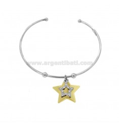 RIGID BRACELET WITH DOUBLE STAR PENDANT IN SILVER RHODIUM AND GOLDEN TIT 925 AND ZIRCONIA