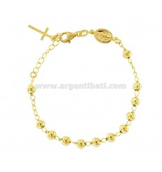 ROSARY BRACELET WITH SMOOTH BALL FROM MM 5 CM 16-20 IN SILVER GOLDEN 925 ‰