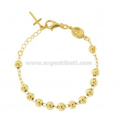 ROSARY BRACELET WITH SMOOTH BALL FROM MM 6 CM 16-20 IN SILVER GOLDEN 925 ‰