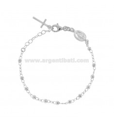 ROSARY BRACELET WITH SMOOTH BALL OF 3 MM CM 16-20 IN SILVER RHODIUM 925 ‰