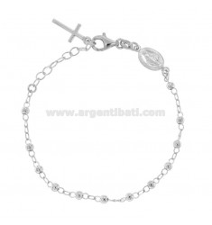 ROSARY BRACELET WITH SMOOTH BALL FROM 4 MM 16 CM IN SILVER RHODIUM 925 ‰