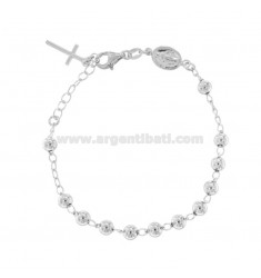 ROSARY BRACELET WITH SMOOTH BALL FROM MM 5 CM 16-20 IN SILVER RHODIUM 925 ‰
