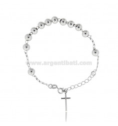 ROSARY BRACELET WITH SMOOTH BALL FROM MM 6 CM 16-20 IN SILVER RHODIUM 925 ‰