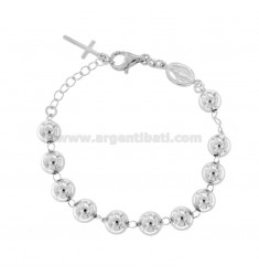 ROSARY BRACELET WITH SMOOTH BALL FROM 8 MM 16 CM IN SILVER RHODIUM 925 ‰