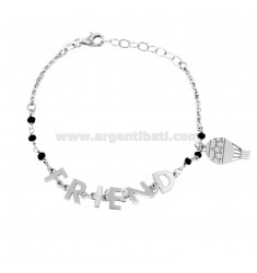 ROLO BRACELET WITH BLACK STONES, FRIEND AND BALLOON IN SILVER RHODIUM TIT 925 ‰ CM 18