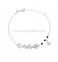 ROLO BRACELET WITH BLACK STONES, STAR AND STAR IN SILVER RHODIUM TIT 925 ‰ CM 18